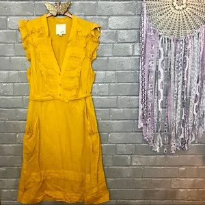 odille // marigold yellow pleated midi dress 6